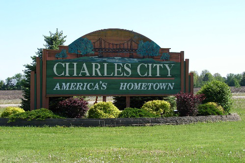"Welcome Sign to Charles City, reading ""Charles City, America's Hometown"""