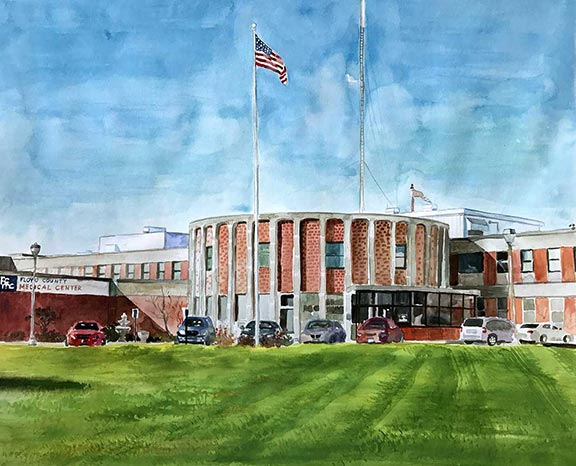 Watercolor of the front view of the FCMC Facility